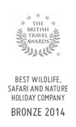 British Travel Awards 2014: Bronze Award for Best Wildlife, Safari and Nature Holiday Company