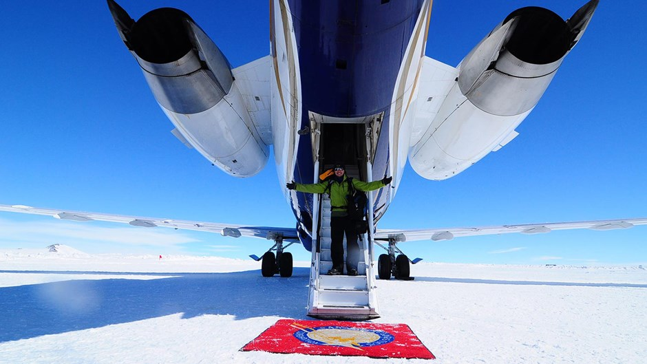 Stepping off a jet in Antarctica, White Desert
