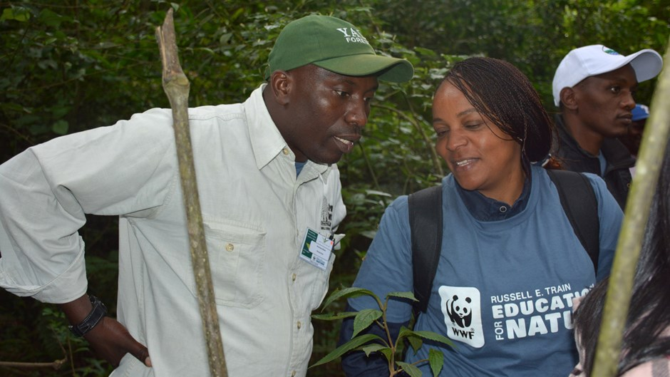 Dominique Bikaba with a staff member from WWF