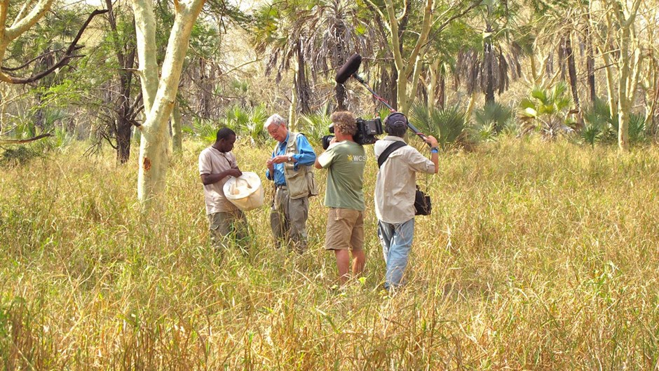E.O. Wilson in Gorongosa National Park with a film crew from the Wildlife Conservation Society