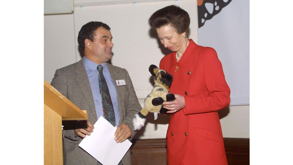 Greg Rasmussen at the 2001 Whitley Awards with Princess Anne