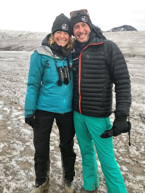 Nick in Svalbard with Specialist Leader Kate Humble