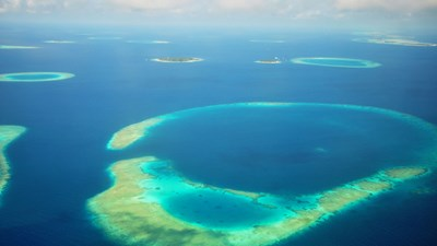 Aerial shot of the Maldives, Indian Ocean